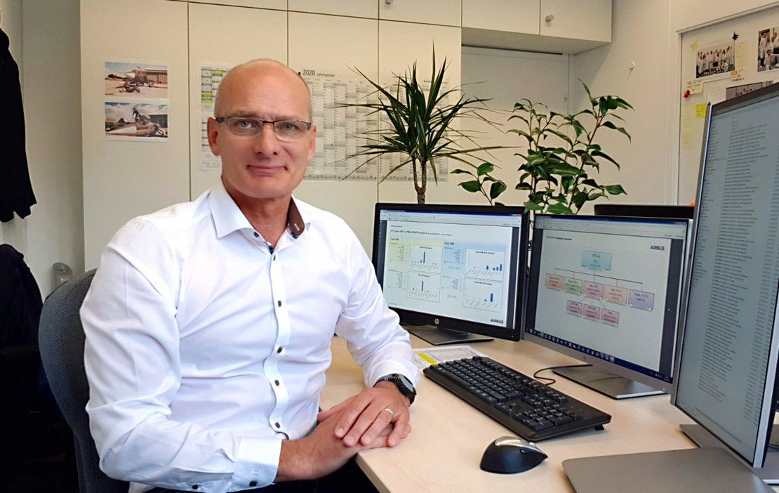 Christian Rosek in his office at Airbus Defence and Space
